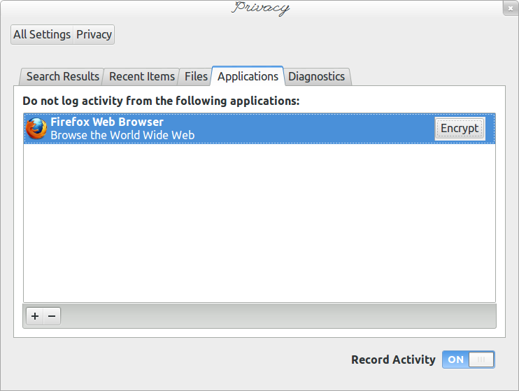 Encrypt Applications dialog
